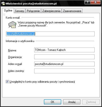 Prawidłowa Konfiguracja programu pocztowego Outlook Express